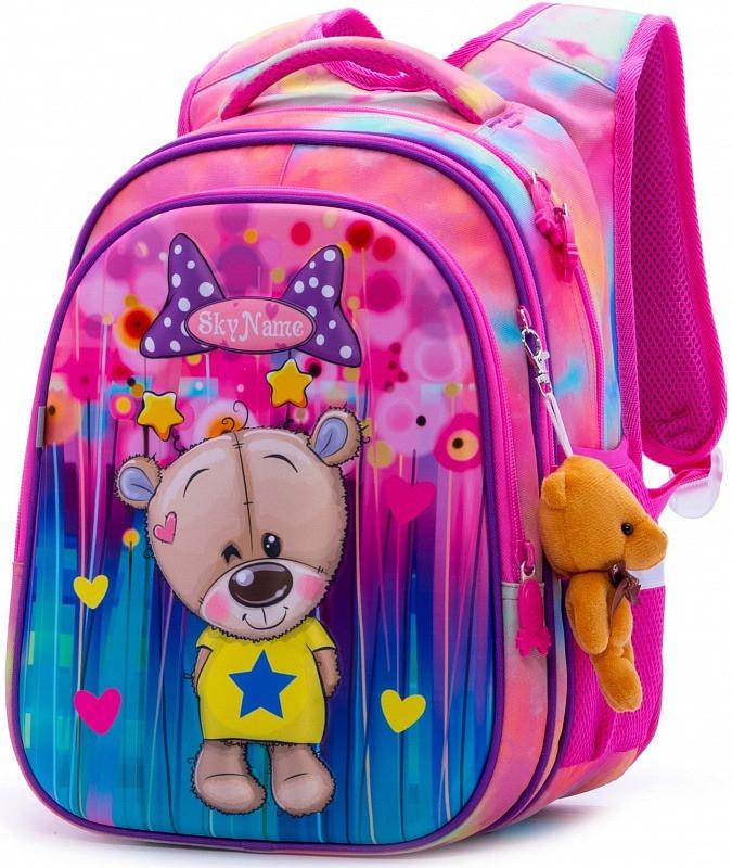 Рюкзак шкільний в 1-4 клас для дівчинки ортопедичний з 3D малюнком Ведмедик SkyName R1-011