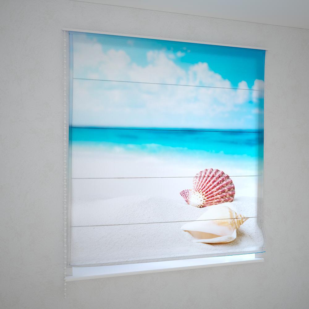 Римские шторы ракушка на пляже
