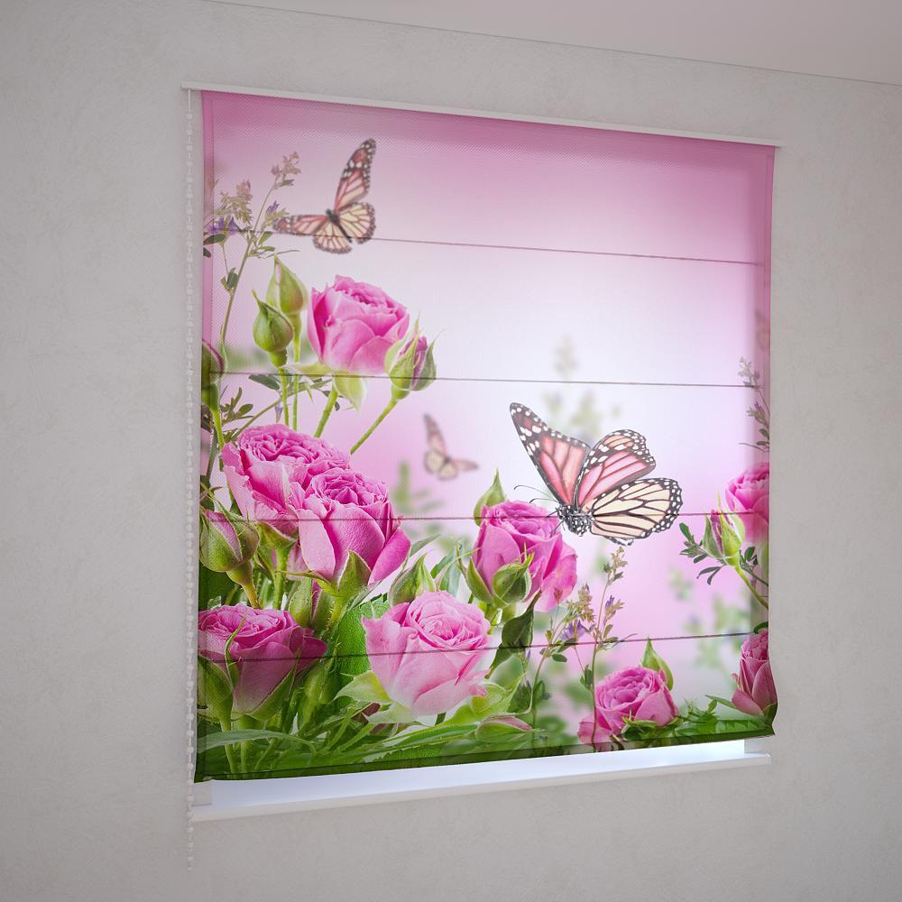 Римские шторы розовые розы на розовом фоне