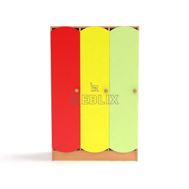 Дитячий шафа для роздягальні 3-х секційний з кольоровими дверцятами. Шафи для одягу в дитячий садок