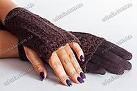 Кашемировые перчатки + митенки 2 в 1 шоколад