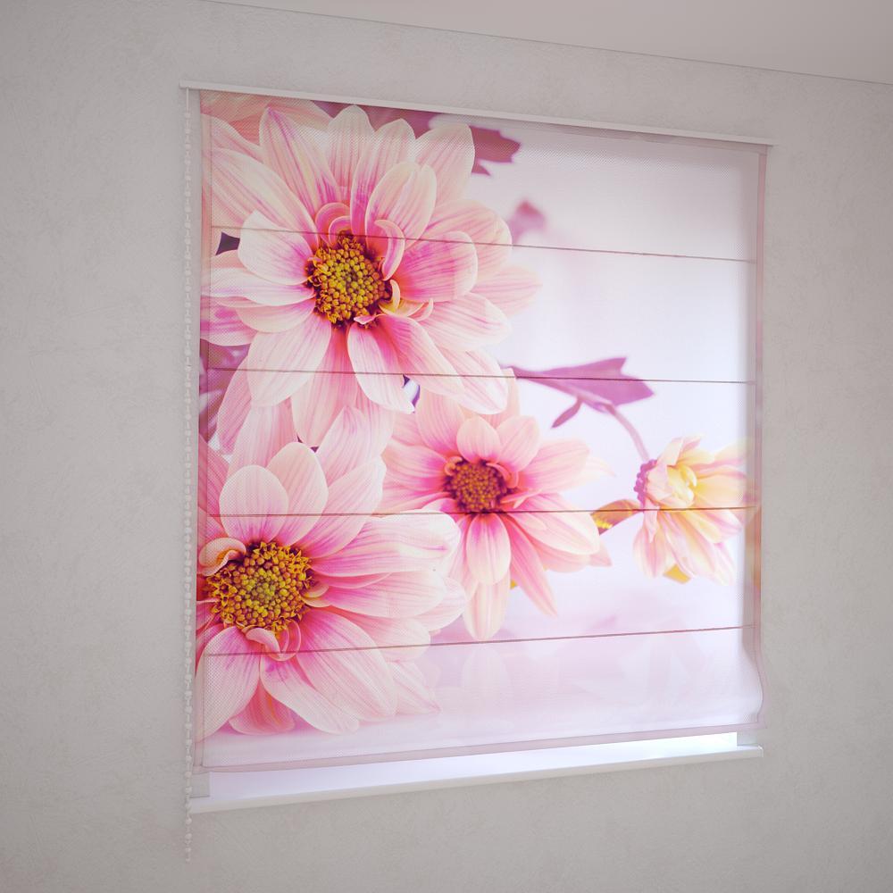 Римские фотошторы розовые цветы