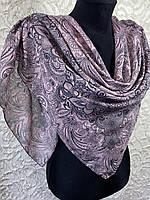 Женский хлопковый розовый платок с этническом рисунком (цв.14)