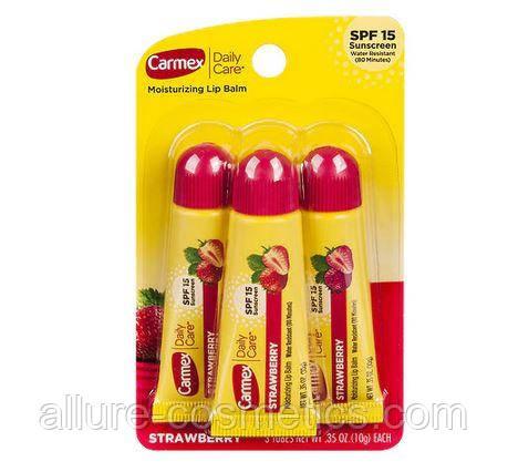 Набір бальзамів для губ Carmex strawberry tube полуниця 3шт