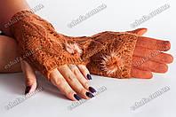 Кашемировые перчатки + митенки 2 в 1 рыжие