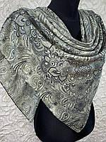 Женский хлопковый бежево-оливковый платок с этническом рисунком (цв.15)