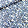 Штапель з густими квітами на блакитному, ш. 140 см