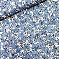 Штапель с густыми цветами на голубом, ш. 140 см