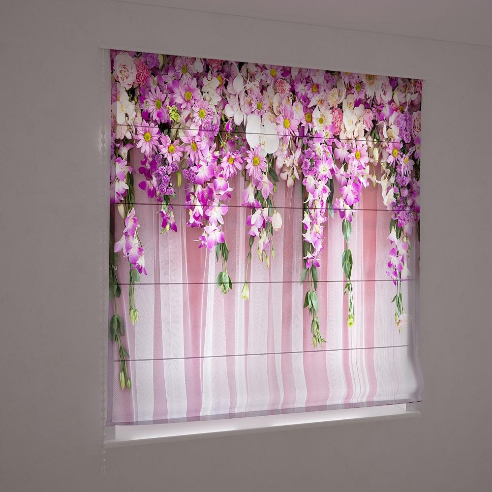 Фотошторы римські яскраві квіти 3д