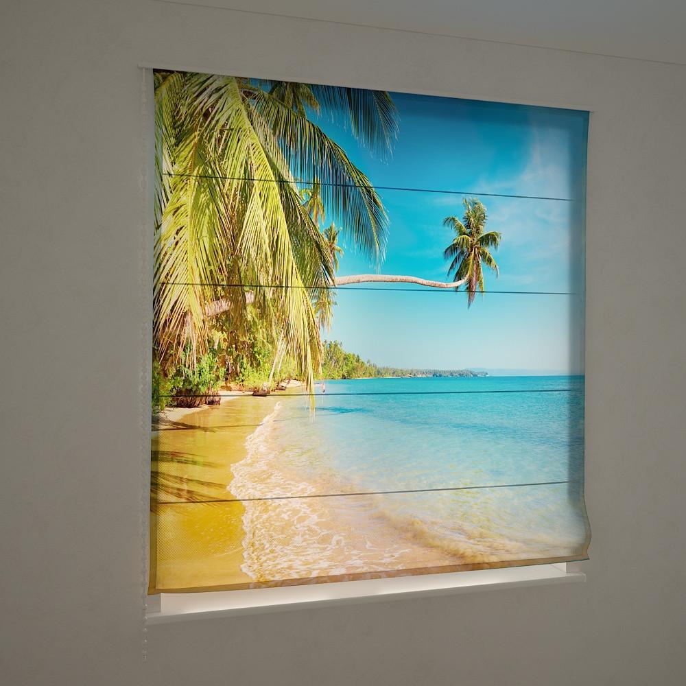Фотошторы римские пальмы и море