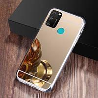 Чехол Fiji Mirror для Vivo Y30 силикон зеркальный бампер золотой