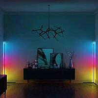 Напольный Угловой LED торшер 1.5, лед лампа, лед ночник, RGB подсветка, два вида управления + ПОДАРОК
