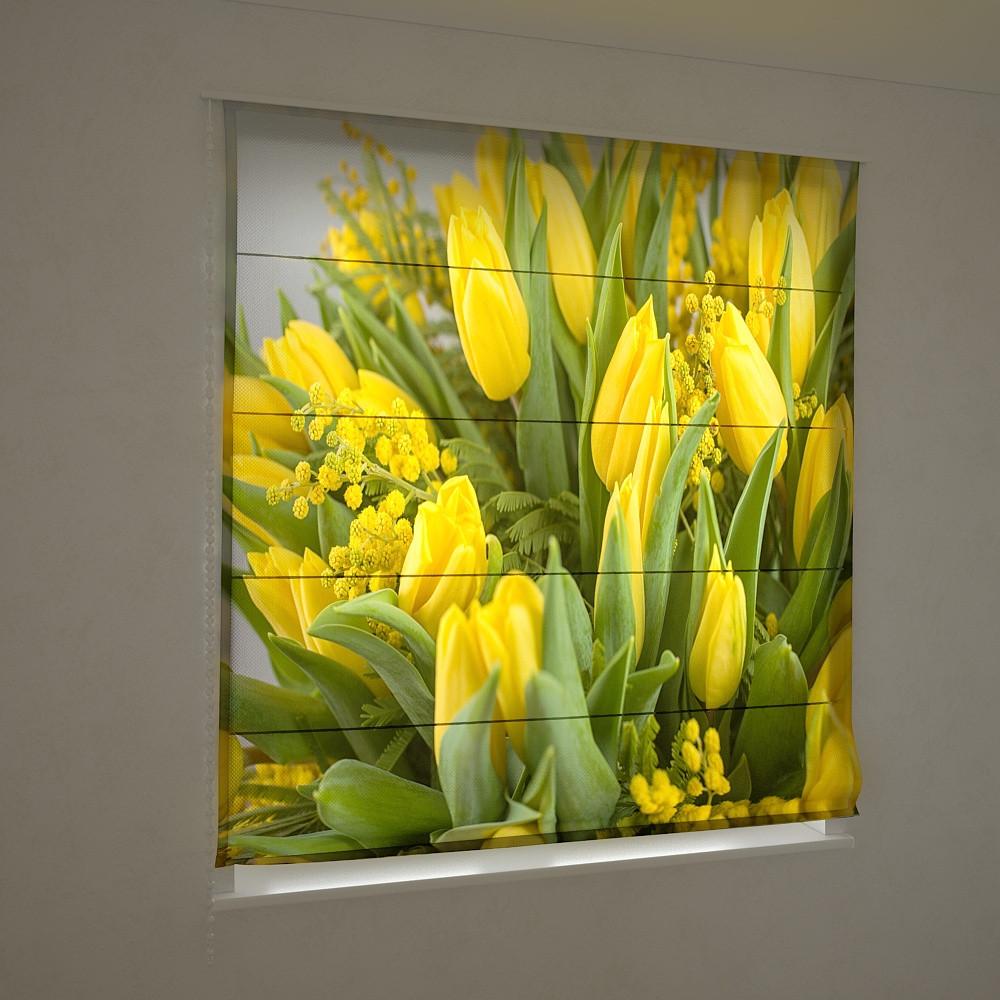 Фотошторы римские желтые тюльпаны 3D