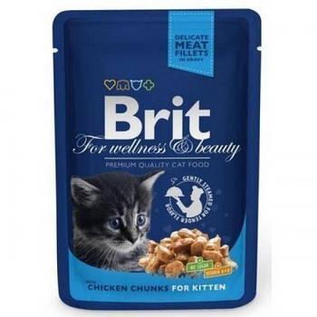 Влажный корм Brit Premium Cat курица для котят, 100 г