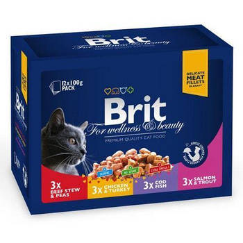 Влажный корм Brit Premium Cat набор паучей семейная тарелка ассорти 4 вкуса, 100гх 12шт
