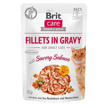 Влажный корм Brit Care Cat филе в соусе пикантный лосось, 85 гр