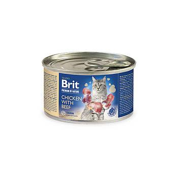Консерва Brit Premium Nature Cat курица с говядиной, 200 гр