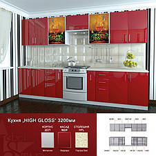 Кухня глянцевая серии HIGH GLOSS модульная под заказ, фото 3
