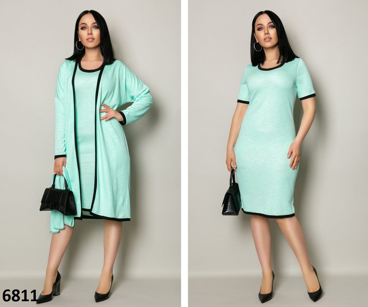 Костюм повседневный платье + кардиган трикотаж 46-48 50-52 54-56 58-60