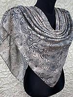 Женский хлопковый бежево-пудровый платок с этническом рисунком (цв.17)