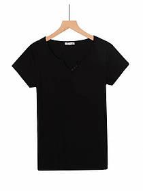 Женская черная базовая футболка