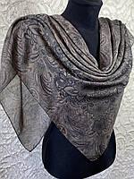 Женский хлопковый коричневый платок с этническом рисунком (цв.18)