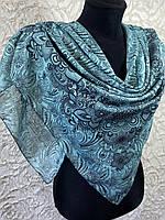 Женский хлопковый мято-голубой платок с этническом рисунком (цв.19)