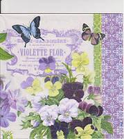 Салфетка для декупажа Сиреневые анютки и бабочки