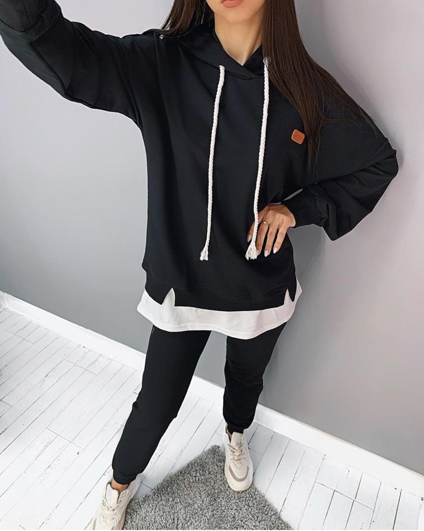 Женский спортивный костюм с имитацией футболки с капюшоном (Норма)