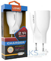 Зарядное устройство LDNio Dual 2A USB Charger + micro USB (2.1A) White (A2271-S4)