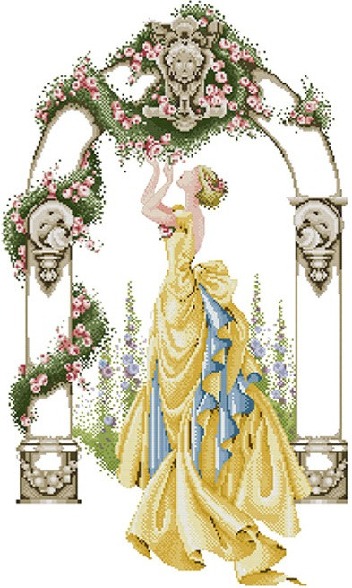 Набір для вишивання хрестом 44х65 Дама в жовтій сукні Joy Sunday R051