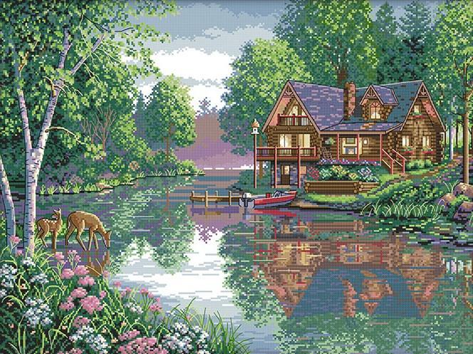 Набір для вишивання хрестом 61х48 Будинок біля річки Joy Sunday F403
