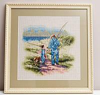"""Картина, вишита хрестом """"На риболовлю"""", 46х47 см"""