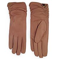 Женские перчатки ( кожаные, зимние, бежевые, на флисе)