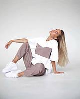 Легкий женский спортивный костюм с футболкой в полоску (Норма), фото 3