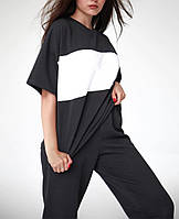 Легкий женский спортивный костюм с футболкой в полоску (Норма), фото 4