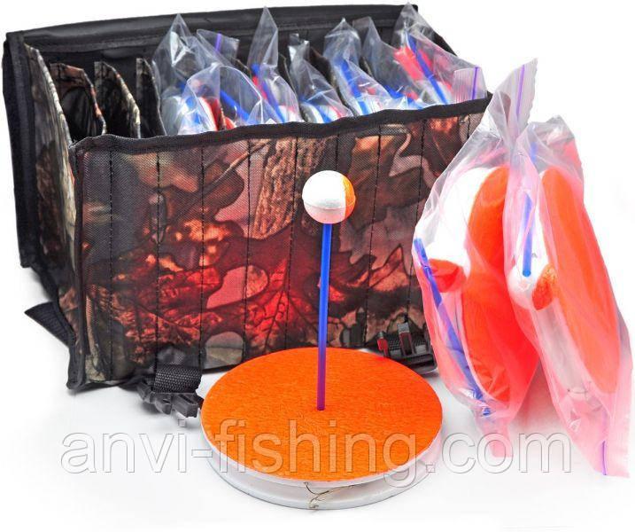 Кружки рыболовные оснащенные - 10 штук + сумка - Дубок