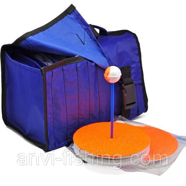 Кружки рыболовные оснащенные - 10 штук + сумка синяя