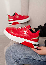 Chanel Sneakers Leather Red