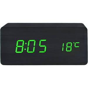 Деревянные Настольные часы VST-862 с термометром Чёрное дерево (зеленая подсветка)