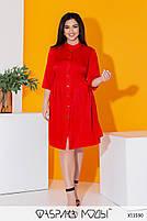 Літній шовкова сукня-сорочка з рукавами три чверті і коміром стійка з 50 по 56 розмір, фото 9