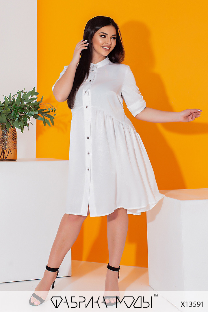 Літній шовкова сукня-сорочка з рукавами три чверті і коміром стійка з 50 по 56 розмір