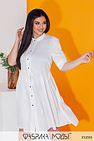 Літній шовкова сукня-сорочка з рукавами три чверті і коміром стійка з 50 по 56 розмір, фото 4