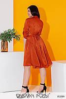 Літній шовкова сукня-сорочка з рукавами три чверті і коміром стійка з 50 по 56 розмір, фото 6