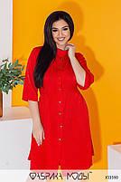 Літній шовкова сукня-сорочка з рукавами три чверті і коміром стійка з 50 по 56 розмір, фото 2