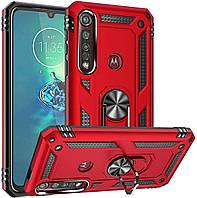 Чехол Shield для Motorola One Macro / XT2016-1 противоударный Бампер с подставкой Red