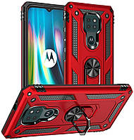 Чохол Shield для Motorola Moto E7 Plus бампер протиударний з підставкою Red