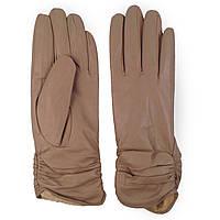 Женские перчатки ( кожаные, бежевые, зимние, на флисе)