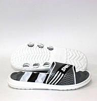 Детские силиконовые шлёпанцы белого цвета с серыми вставками 30-35 р