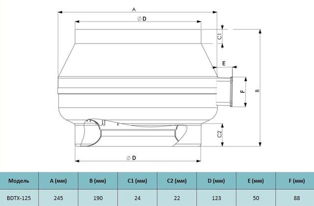 Габариты канального вентилятора Bahcivan BDTX 125. Купить в Украине